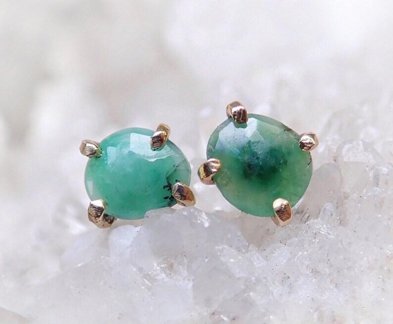 dba698c5d75ee Raw Emerald Earrings, 14k Gold Emerald Studs, Natural Emerald, Artisan made