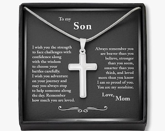 Gift for Son Cross Necklace, To My Son Cross, Gifts for Son from Mom, Birthday Gift for Son, Mom to Son Gift, Mom and Son Gift