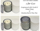 Luxury candle Geo cut glass candle Jar - Candle offers two for twenty