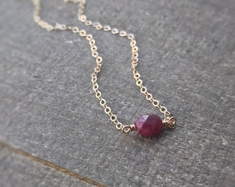 14k gold filled sterling silver tiny red faceted ruby necklace / bridesmaid necklace / dainty necklace / minimalist / July birthstone