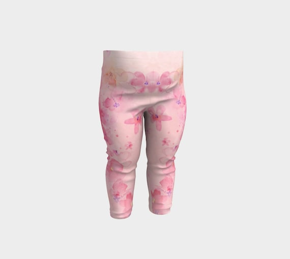 flowery baby legging stretchy pants Baby legging pink with flowers pink baby legging baby girl pants baby girl gift pink pants