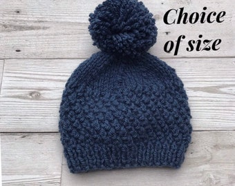 Baby hats. knitted baby hats. Aran baby hats. Baby pom pom hats. Baby  bobble hats. baby beanie. Choice of size 6e70ea23414