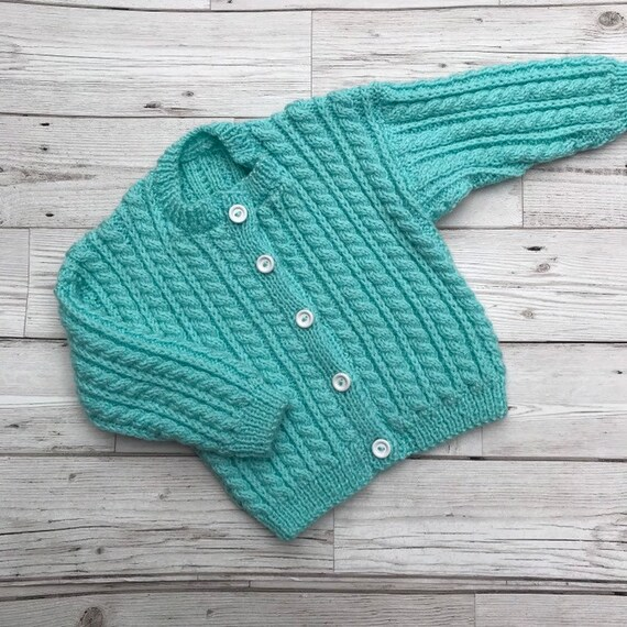 hand knitted baby cardigans 6-12 months