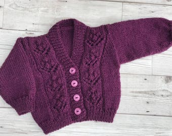 Hand knitted baby cardigan. Purple baby cardigan. 0-3 months baby cardigan. Baby sweater