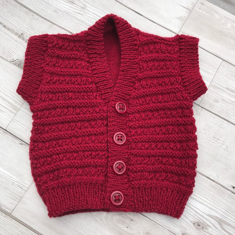 Baby cardigan, baby sweater, hand knitted baby cardigan, hand knitted baby sweater, red coloured baby cardigan, 0 3 months size,