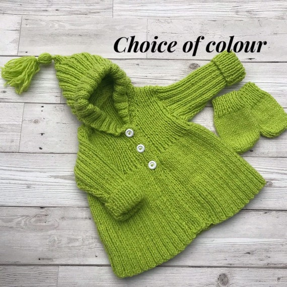 Baby sweater. Hand knitted baby cardigan to fit a 0 to 3 month baby. Choice of colour baby clothes. Baby gift.