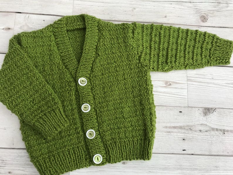 0-3 MONTHS LONG SLEEVE NEW BLACK HAND KNITTED BABY CARDIGAN