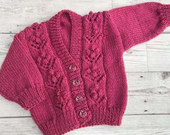 Hand knitted baby cardigan. Purple/pink baby cardigan. 0-3 months baby cardigan.Baby sweater