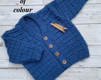 Hand knitted baby cardigan 3 to 6 month size, choice of colour
