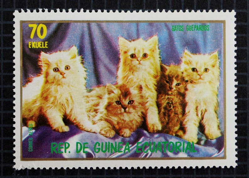 SALE // Kittens Postage Stamp Set // Equatorial Guinea 1976 Vintage Postage  Stamp // Cats // Siamese Cat // Persian Kitten // Paper Crafting