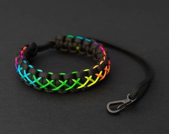 Pride Month Rainbow Camera Strap, PGUK, Stitched Paracord Camera Strap, Wrist Strap, Gay Pride, LGBTQ, Unisex, Cute Bracelet, Gift LGBT