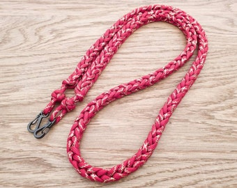 Paracord Camera Neck Strap, PGUK, Handmade Rope Camera Sling, Photographer Gift, Woven Strap, DSLR Straps, Red & Gold Metallic Tracer Cord