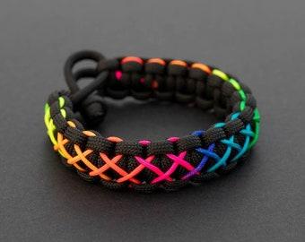 Pride Month Rainbow Bracelet, Stitched Paracord Bracelet, PGUK, Multi Colour, Adjustable, Gay Pride, LGBTQ, Unisex, Cute Bracelet, Gift LGBT