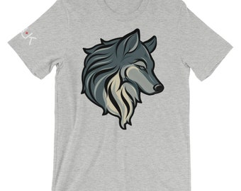 Wolf T Shirt, Athletic Heather Unisex Short Sleeve Jersey Tee, S-4XL, Mens tshirt, Animal Tee, 100% Ring Spun Cotton T Shirt, PGUK Tee