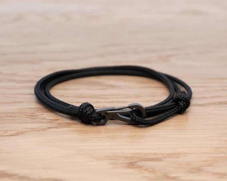 Jet Black Rope Bracelet Carabiner Clip Wrap Bracelet image 0