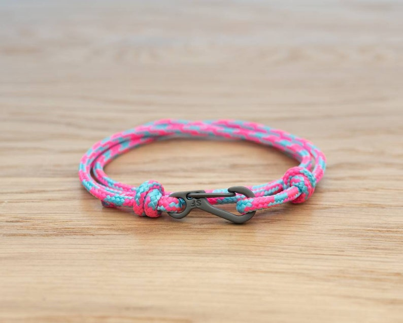 Pink and Blue Cotton Candy Rope Bracelet Carabiner Clip Wrap image 0