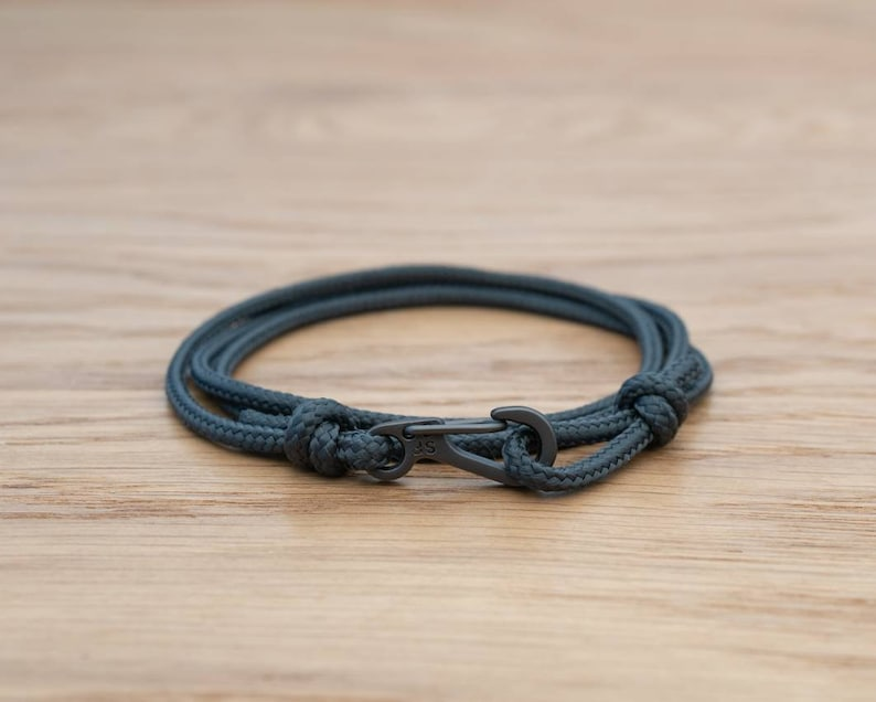 Dark Anthracite Grey Rope Bracelet Carabiner Clip Wrap image 0