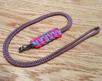 Paracord ID Lanyard Cobra Weave – PGUK – Metal Carabiner – Rose Diamond Cotton Candy – 74 Colours – EDC – Badge Holder - Gift