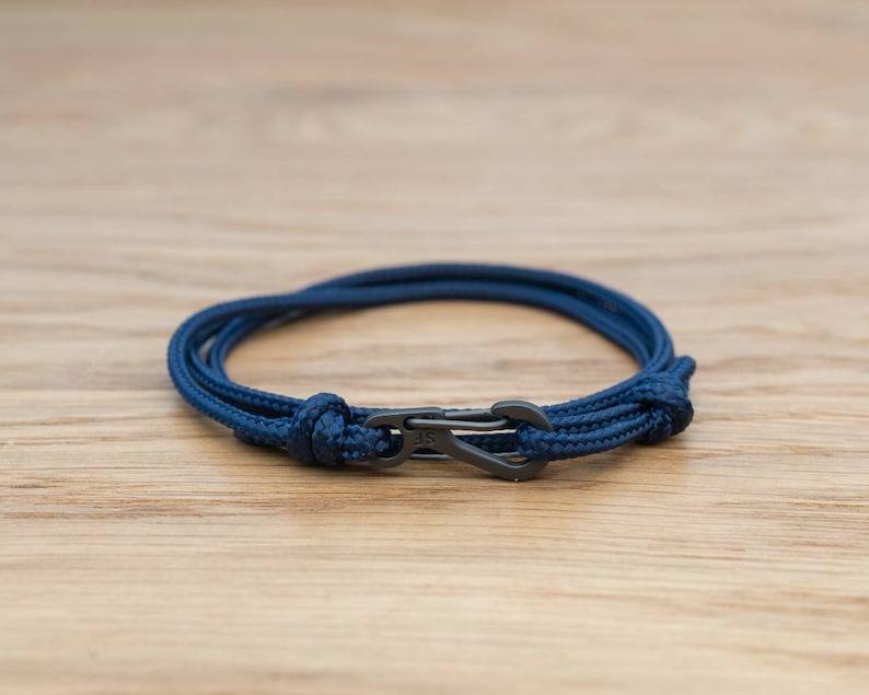 Midnight Dark Blue Rope Bracelet Carabiner Clip Wrap image 0