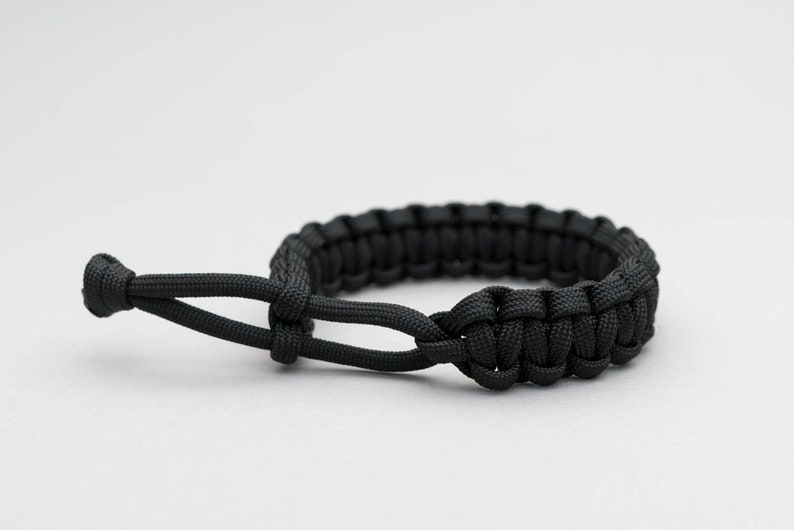 Paracord Bracelet Mad Max Cobra Weave BLACK Adjustable image 0