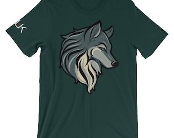 Wolf T Shirt, Forest Green Unisex Short Sleeve Jersey Tee, S-4XL, Mens tshirt, Animal Tee, 100% Ring Spun Cotton T Shirt, PGUK Tee