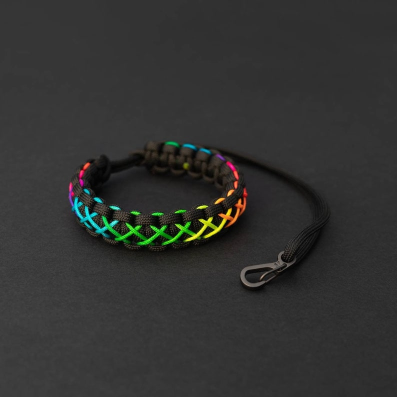 Pride Month Rainbow Camera Strap PGUK Stitched Paracord image 0