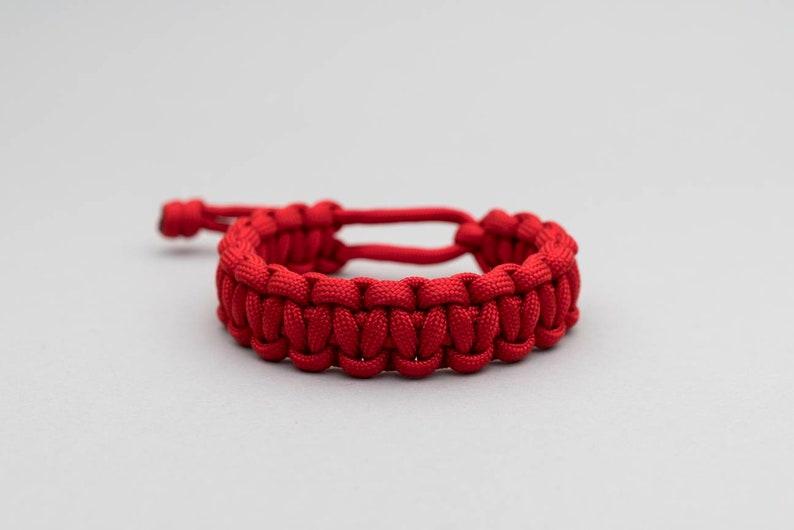 Paracord Bracelet, Mad Max, Cobra Weave, RED, Adjustable, Mens Bracelet,  Rugged, Survival Bracelet, Everyday Carry, Bushcraft, Rope, PGUK