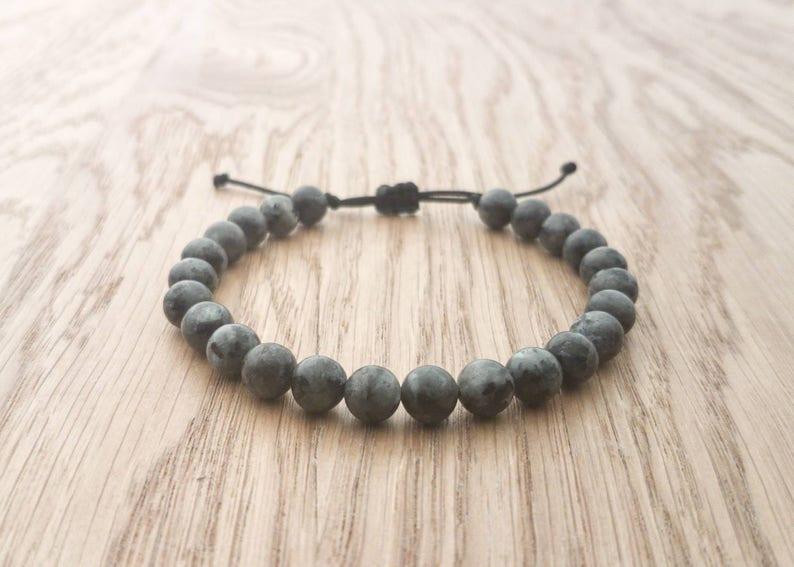 Mens Natural Larvikite Beaded Bracelet 8mm Bead Size Semi image 0