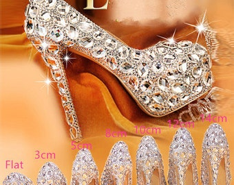 d40dd745983 Stylish Womens Bling Luxury Rhinestone Bridal Shoes Heel Pumps Custom Shoes  with personalized exclusive signature design