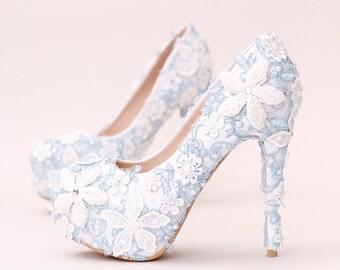 b19dc429ceb Custom Stylish Blue Women Bridal Shoes Heels Pumps Custom Shoes Party    Evening Prom