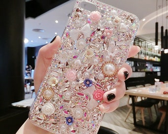 on sale ea40c a881e Bling Diamond Handmade Luxury Sparkle Clear Rhinestones Case Full Crystals  Diamond Cover for iPhone6 Iphone 7  iPhone 8