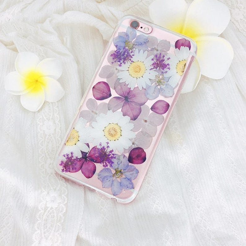 Original Design Real Dry Flower Tpu Case Cover For Etsy