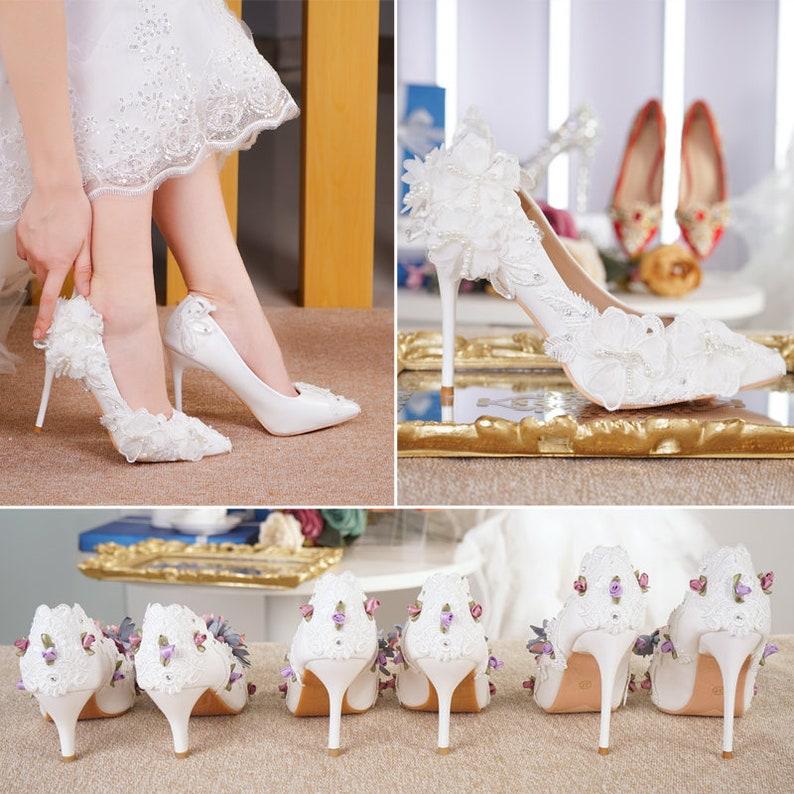 Womens Luxury Lace Wedding Beautiful Bridal Shoes Custom Etsy