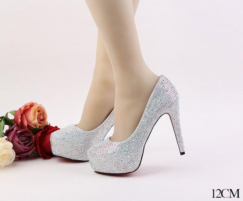 f70b712c5dd Stylish Women Bling Rhinestone Bridal Shoes Heels Crystals