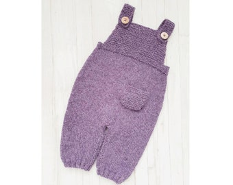 Baby knit romper - Knit overall - Newborn wool longies - Alpaca pants - Baby overalls - Baby shower - Knit baby romper - Autumn baby clothes