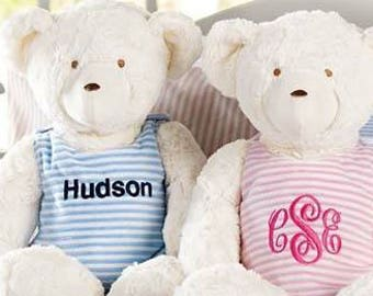 Monogram me Bear, monogrammed bear, teddy bear, monogrammed teddy bear, baby shower gift, baby's toy, Twin bears, personalized twin bears