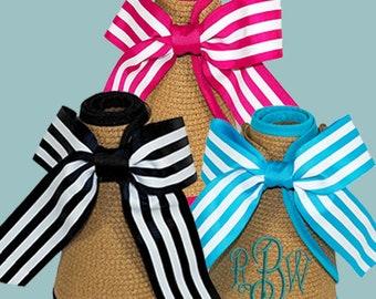 Monogram Sun Visor, Beach hat, Beach visor, Monogram beach hat, Pool Hat, roll-up visor, travel visor, Sun visor w/ribbon, striped visor