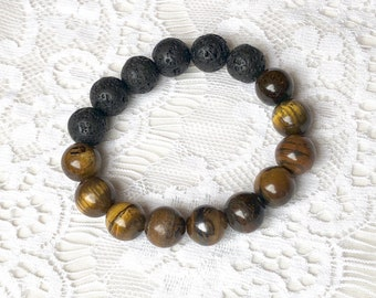 Semi-Precious Cats Eye & Lava Bead Essential Oil Diffuser Bracelet