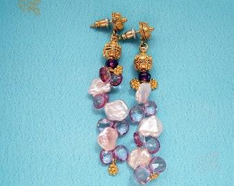 Pink topaz, Freshwater pearls, Garnet, 24k Gold Vermeil Earrings