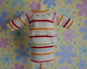 Rainbow Stripe Sweatshirt Pocket Dress * Blythe * Pullip *