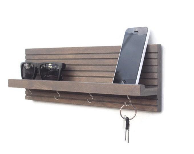 Modern Wood Key Holder (with Shelf)