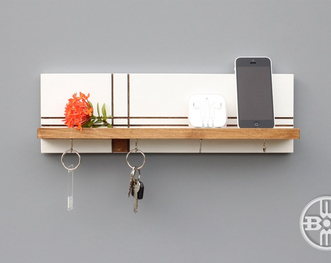 Wood Shelf With Key Hooks