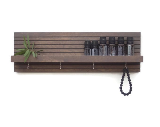 Modern Wood Shelf With Hooks