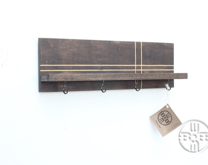 Modern Wood Shelf (with Hooks)
