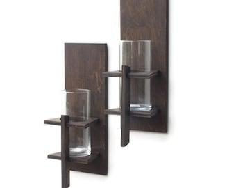 Wall Sconces (Pair) - Rustic Decor, Candle Sconces, Rustic Wall Sconce, Candle Holder, Rustic Lighting, Hanging Candle Sconces, Wall Decor