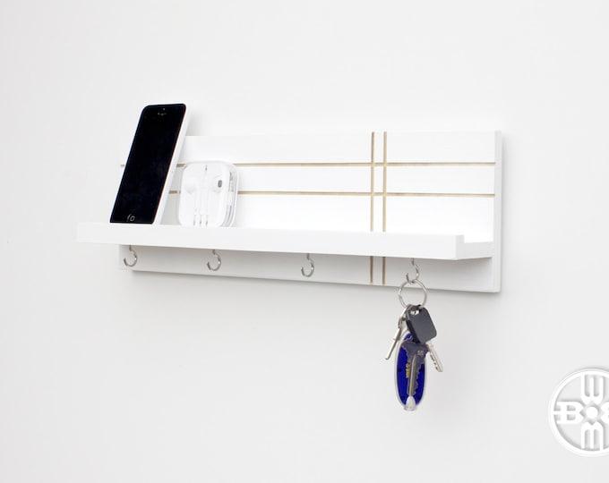 Wood Shelf With Key Hooks