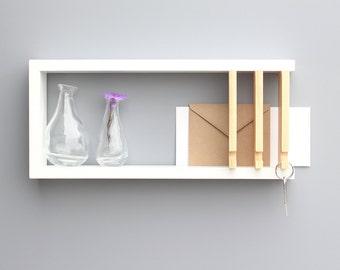 Wall Key Holder, Modern Shelf, Key Hanger, Solid Wood,  Wood Shelf, Entryway Wall, Key and Mail Holder,