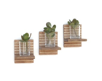 Succulent Planters - Floating Shelves, Succulent Wall Planter, Mothers Day gift, Candle Shelves, Votive Candle Holder, Glass Votive Holder