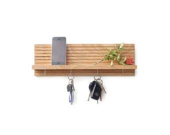Key Rack, Entryway Organizer, Key Holder for Wall, Gift for Men, Floating Shelf, Shelf With Hooks, Wood Shelf, Wedding Gift, Wall Key Holder