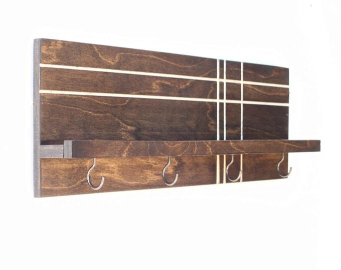 Modern Wood Shelf (with Hooks)